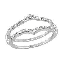 14k Solid White Gold Diamonds Solitaire Enhancer Wedding Guard Wrap Ring... - €362,09 EUR