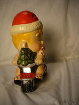 Vaillancourt Folk Art Baby Santa on a Trike with Snowman Signed  image 4