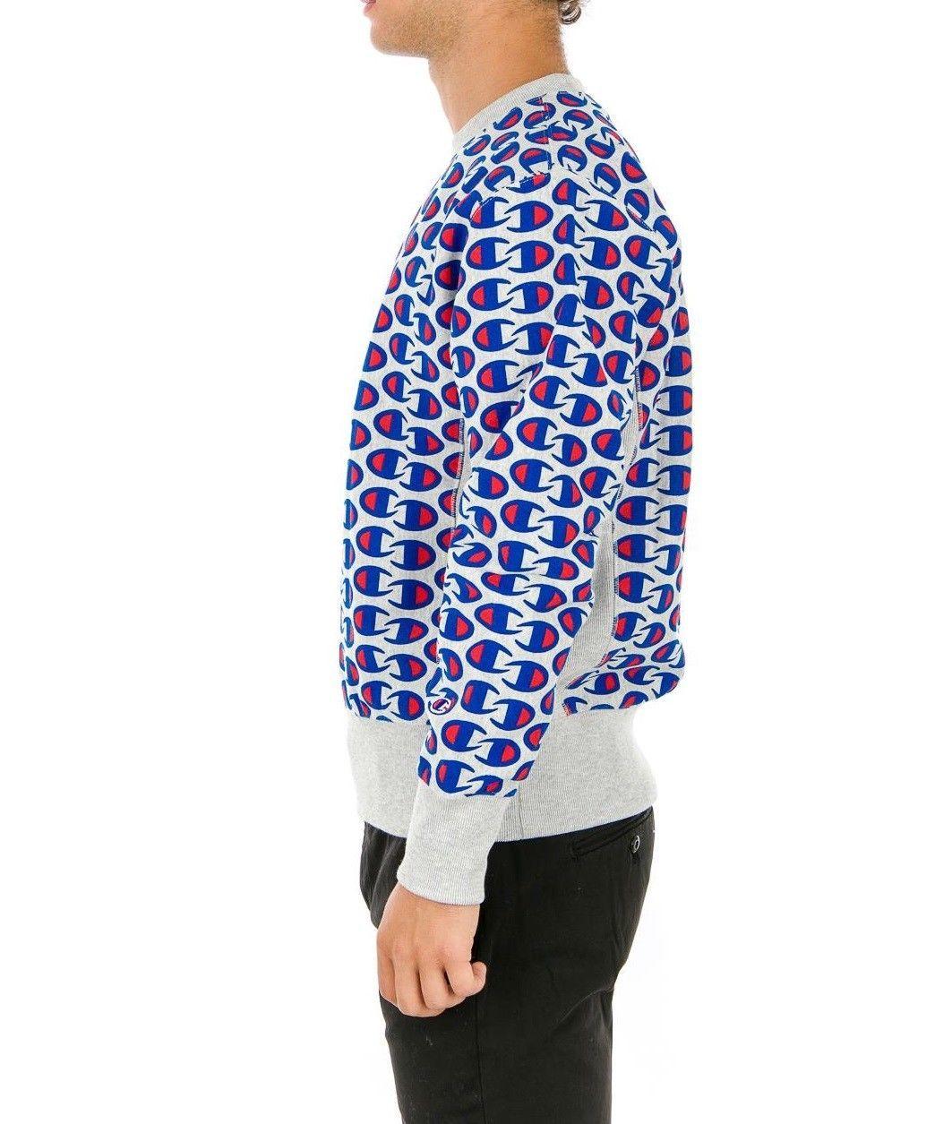 Sale Sweatshirt Champion 212429 Reverse Weave Man Round Neck Grey Blue Fleece Wi image 2
