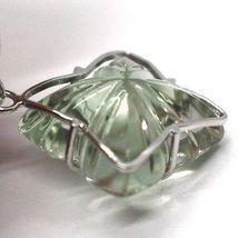 Drop Earrings in 18k White Gold, Diamonds, Prasiolite, Hearts, Flowers image 3