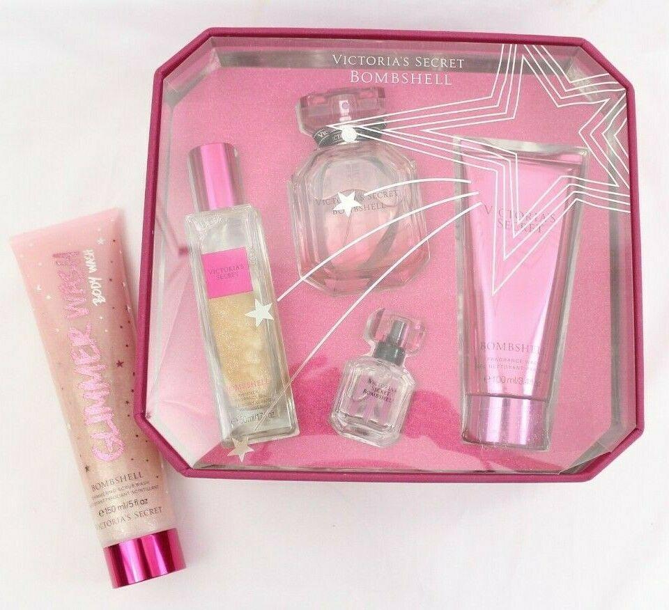 Victoria's Secret BOMBSHELL Eau De Parfum,Shimmer Oil, Wash, Scrub Fragrance Set image 3