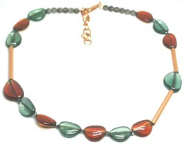 """ROSE NECKLACE AMBER GREEN ROUNDED DROPS OF MURANO GLASS TUBE ALTERNATE 50cm 20"""" image 1"""