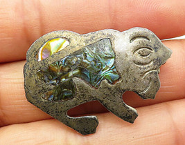 MB MEXICO 925 Silver - Vintage Abalone Shell Sitting Animal Brooch Pin -... - $34.98