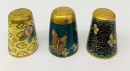 Thimble Cloisonne Enamel Set of 3 Thimbles Floral Butterfly Bird Turquoise - $29.69