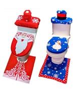 Rug Seat Bathroom Set Christmas Santa Claus Decoration Toilet Christmas ... - $13.99+