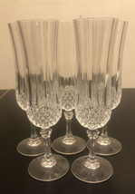 """Lot of 5 Cristal D'Arques Longchamp Pattern Crystal Champagne Flutes 8-1/8"""" Tall - $19.80"""
