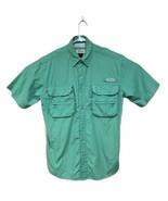 Men's Magellan Outdoors Solid Green Shirt Short Sleeve Vented Fishing Sh... - $14.71