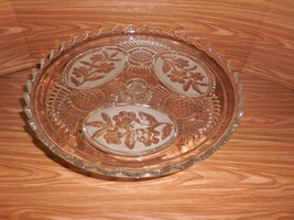 Lead Crystal Pedestal Torte Cake Stand - Floral Design - Made in Bulgaria - $29.69