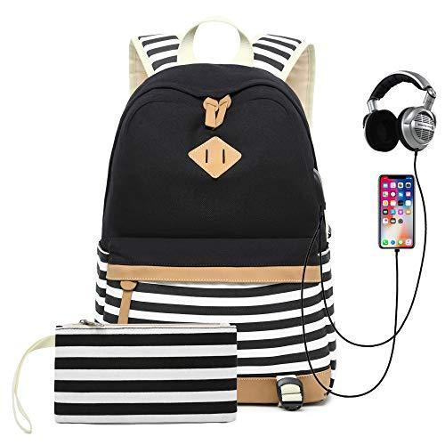 Sqoto Backpack Bag, Canvas Girls Bookbag with USB Charger Port and Pencil Case B