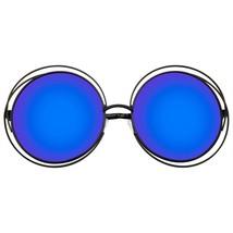 Gafas Sol Redondas Retro Indie Dual Metal Extragrande Lente Espejada de - $11.46