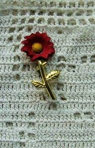 VINTAGE RED YELLOW ENAMELED GOLD TONE STEM METAL FLOWER PIN BROOCH Rare ... - $3.95