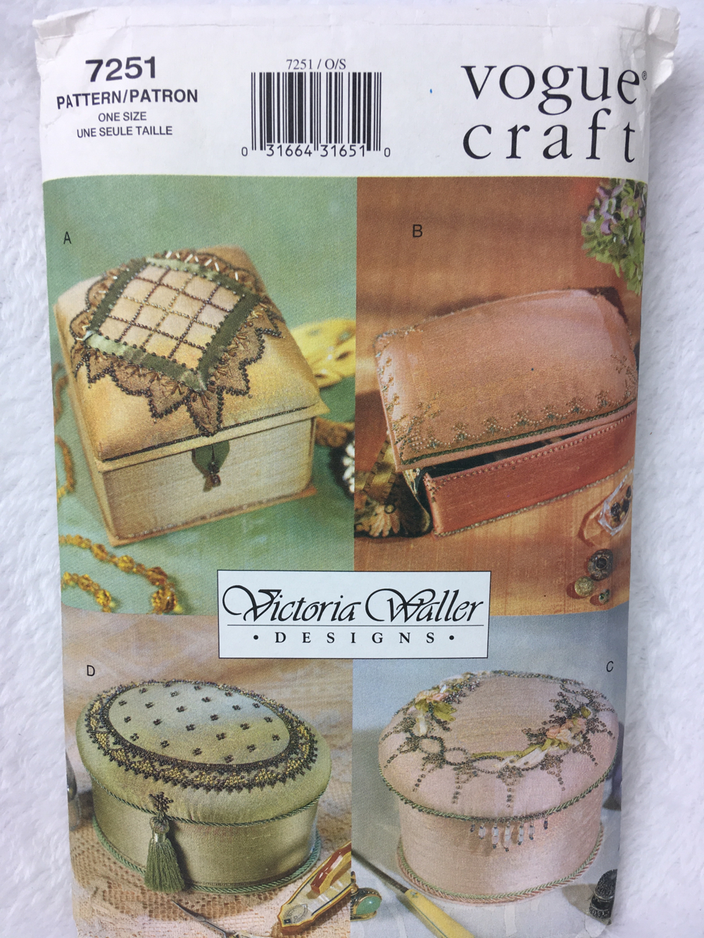 Vogue Craft 7251  4 Pin Beaded Boxes Sewing Pattern One Size - $12.00