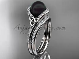 Black Cultured Pearl Celtic Wedding Set 14k White Gold Diamond, CTBP7317S - $2,095.00