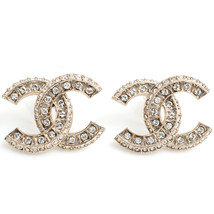 SALE*** Authentic Chanel Classic XL CC Logo Crystal Gold Stud Earrings