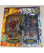 NEW MARVEL COMICS FIRE ICE FIGURE 2-PACK HUMAN TORCH ICEMAN X-MEN FANTAS... - $14.84