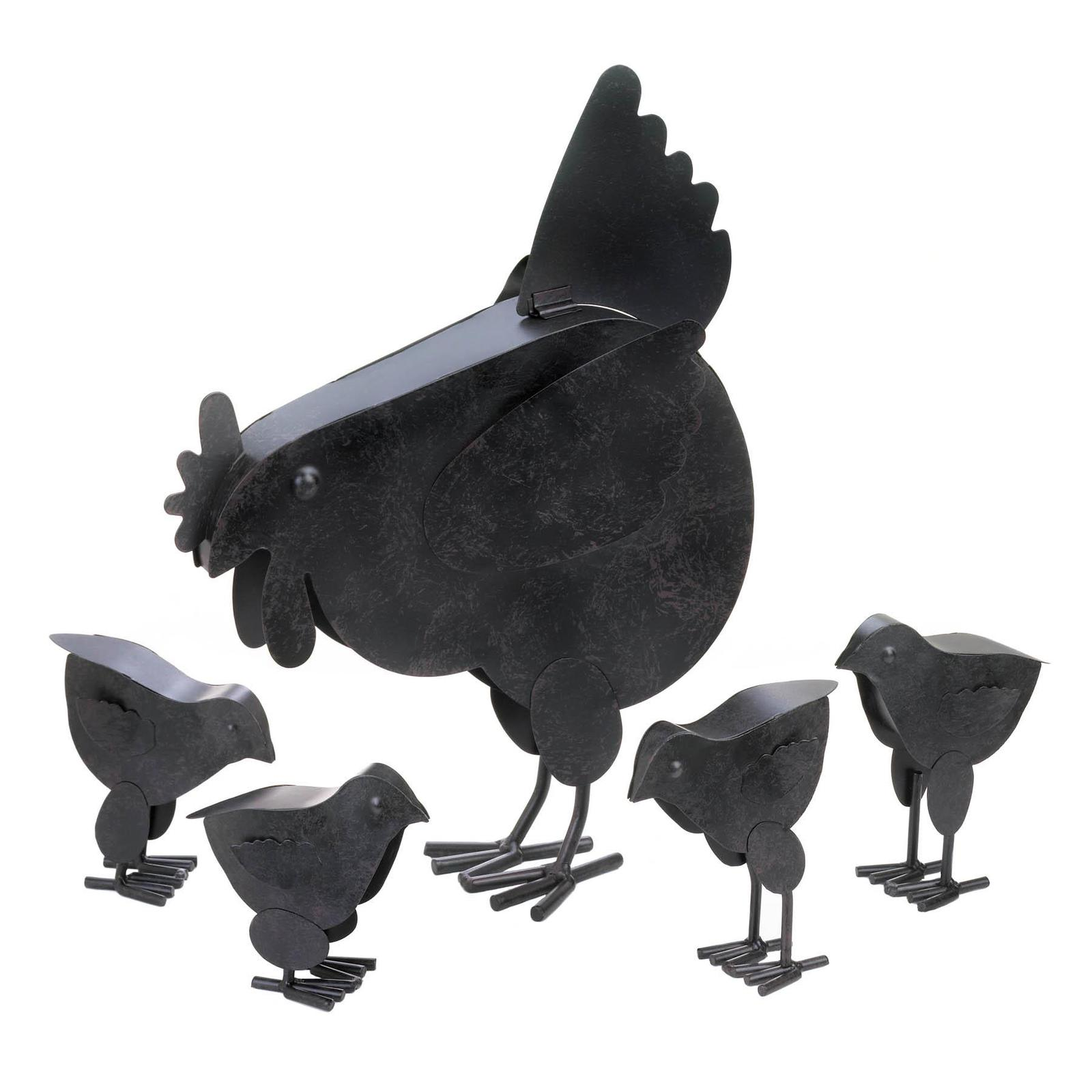 Rustic Metal Hens with Chicks Family of 5 Sculpture Garden Decor