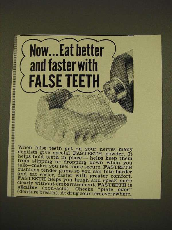 1966 Fasteeth Powder Ad - Now Eat better and faster with false teeth