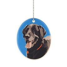 Oval Ceramic Labrador Retriever Dog Ornament w Metal Chain Department 56