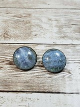 Vintage Clip On Earrings Circle Cracked Glass Effect - $11.99
