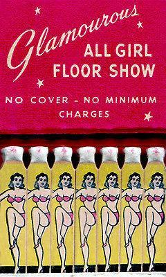 Primary image for 1940's - Glamourous All Girl Floor Show - Matchbook Advertising Poster