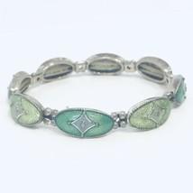 Vintage Napier Green Enamel & Silver Tone Stretch Bracelet - $21.20