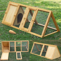 Wooden Outdoor Triangle Rabbit Bunny Hutch And Run Guinea Pig Ferret Cag... - $43.14