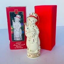 Madsion avenue Christmas ornament musical figurine NIB snowman white fro... - $24.70