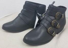 Nuovo Bambina Art Class Blanche Fibbia Lato Cerniera Nero Stivali Caviglia Nwt