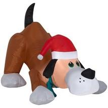 Airblown Inflatable Playful Puppy Dog wIth Santa Hat by Gemmy image 1