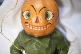 Bethany Lowe Pumpkin Head on Bat Wall Hanging image 2