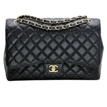 Chanel Maxi Classic Quilted Flap Bag in Black Caviar Leather with Gold H... - $5,935.05