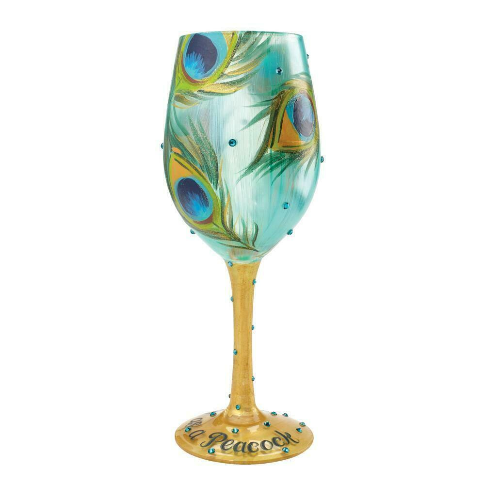"Stunning Pretty as a Peacock ""Designs by Lolita"" Wine Glass 15 o.z. Gift Boxed"