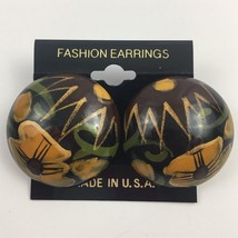 Vintage Big Round Floral Earrings Pierced Brown Yellow Funky NOS 80s 90s... - $12.58