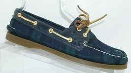 Sperry Top-Sider A/O green fabric plaid 2-eye lace up slip on boat shoes 7.5M - $33.30
