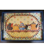 MARY ENGELBREIT Blue Teapots Breakfast Serving Tray With Handles Decor K... - $46.52