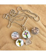 Snap Button Pendant Button Necklace Angel Faith Cross With God All Thing... - $9.50
