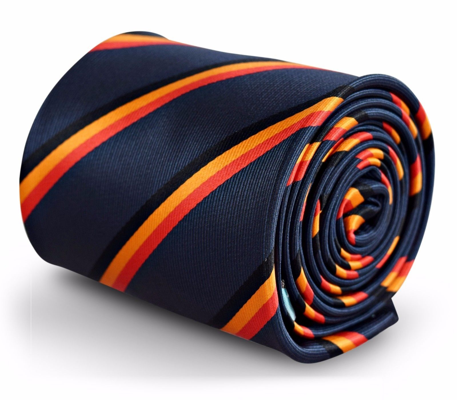 Navy Blue Mens Tie with German Flag Red Black and Orange stripes FT3252
