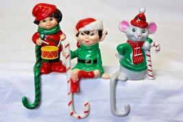 """3 Vintage Christmas Plastic Stocking Holders 4.5"""" J.S.N.Y. Hong Kong Dru... - $16.35"""