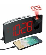 PICTEK Projection Alarm Clock, 4 Dimmer, Digital Clock with USB Phone Red - $38.38