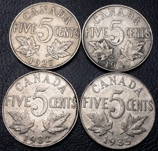 Lot of 4x Canada 5 Cents Nickel Coins - Dates: 1927, 1930, 1932, 1935 - $3.96