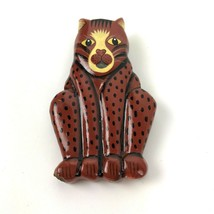 Vintage Cat Pin Hand crafted painted kitty kitsch spotted Tabby crazy ca... - $11.87