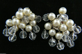 Vintage Silver Tone White Pearl Faux Clear Round Bead Charm Clip On Earrings $0S - $31.64