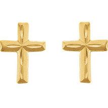 14K Yellow Gold Youth Diamond Cut Cross Earrings  - $70.99