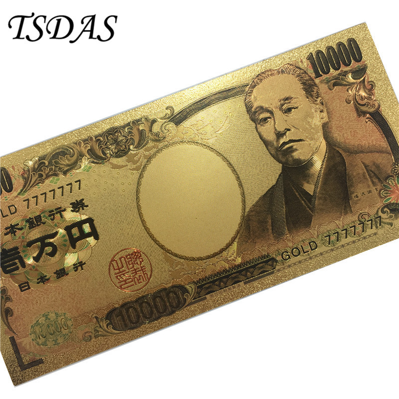 NEW Japan Gold Banknote 10000 Yen As Souvenir Collectible Gold Foil Banknotes