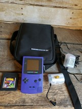 Nintendo Game Boy Color Grape Purple Handheld System Console CGB w Tetri... - $77.39