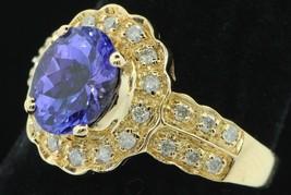 Art Nouveau Style KHR 14K Yellow Gold Tanzanite and Diamond Ring (Size 6) - $635.00