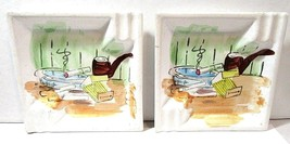 PAINTED PAIR SET MID CENTURY COLLECTIBLE ASHTRAYS DISH PIN COIN IRON-STONE - $30.00