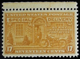 1944 17c Motorcycle, Special Delivery, Orange Yellow Scott E18 Mint F/VF NH - $2.97