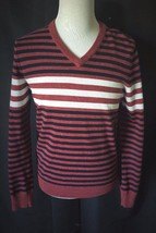EXPRESS Mens V Neck Sweater Red White Blue Stripes No Size Tag see measu... - $9.89