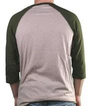 LRG Men's Putty/Heather Up Rise Y-Neck 3/4 Sleeve Henley Raglan Shirt Medium NWT image 2